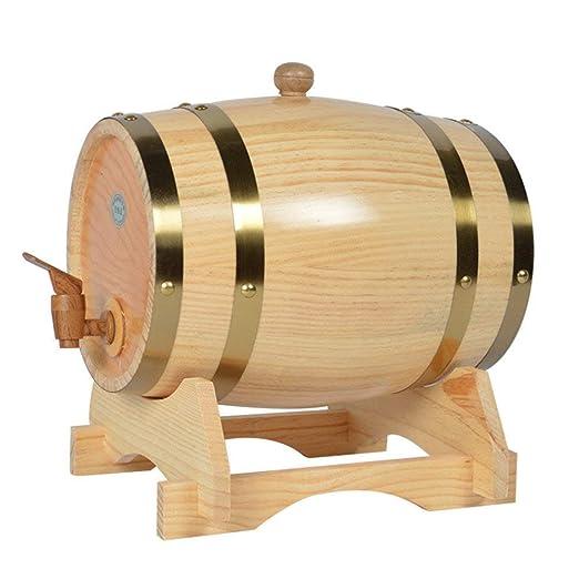 Z@SS Barril De Vino Dispensador, Vintage Pine Timber Barrel para Almacenamiento O Envejecimiento Vino Whisky Cerveza con Soporte De Madera Y Forro De ...