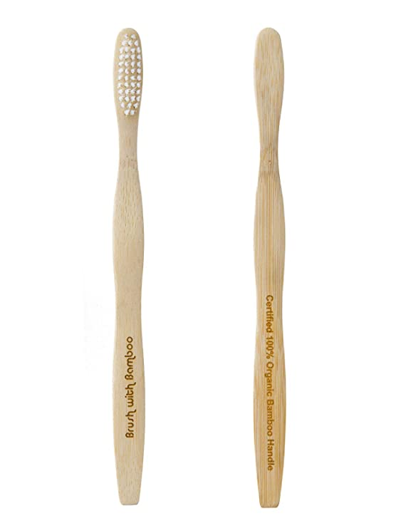 Brush with Bamboo - Cepillo de dientes de bambú, ecológico, 4 unidades: Amazon.es: Hogar