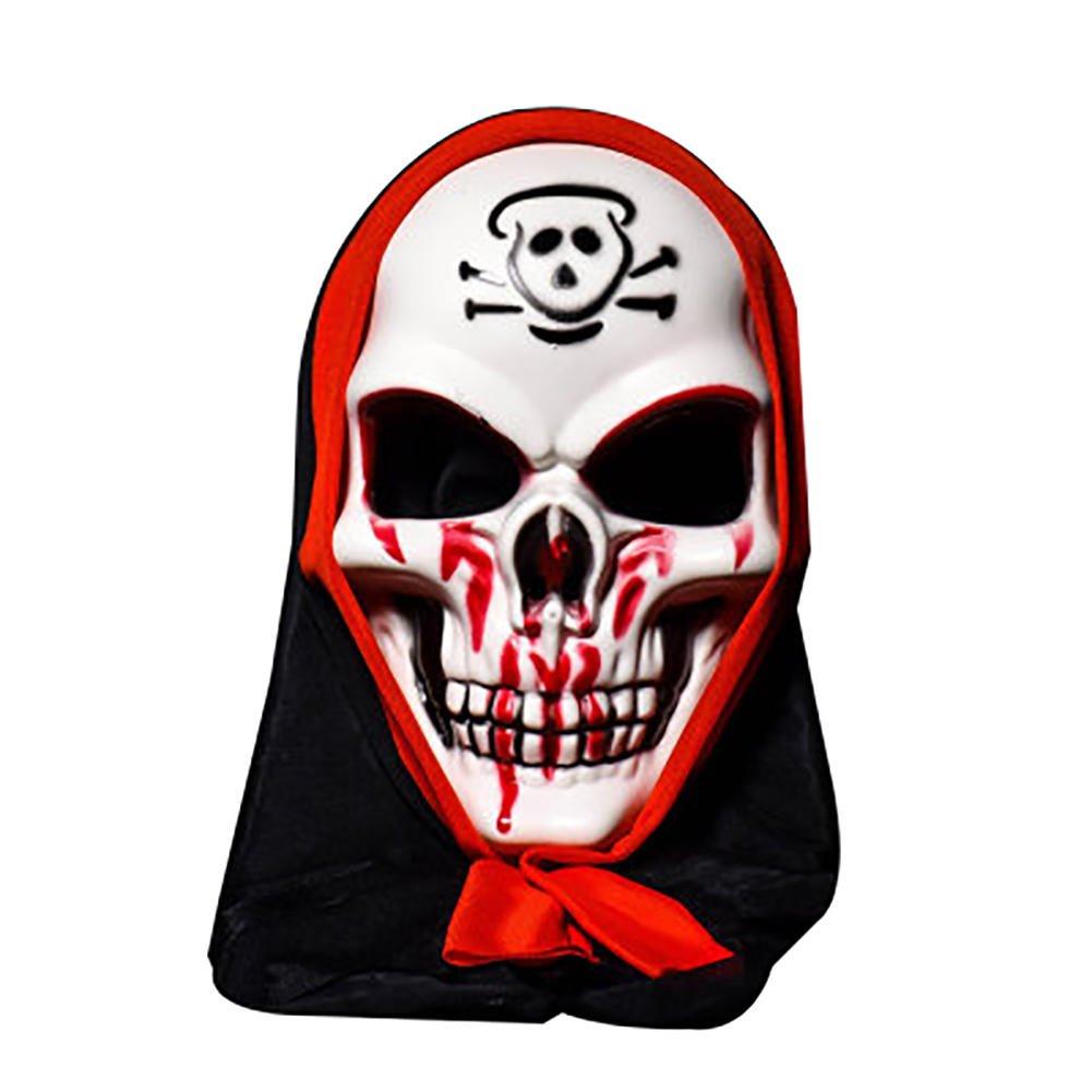 Scarey Cloak - Halloween Skull Vampire Mask Bar Dance Horror Scary Soul Prop Demon Devil - Shivery Dissemble Alarming Masque Chilling Masquerade Shuddery Block - 1PCs