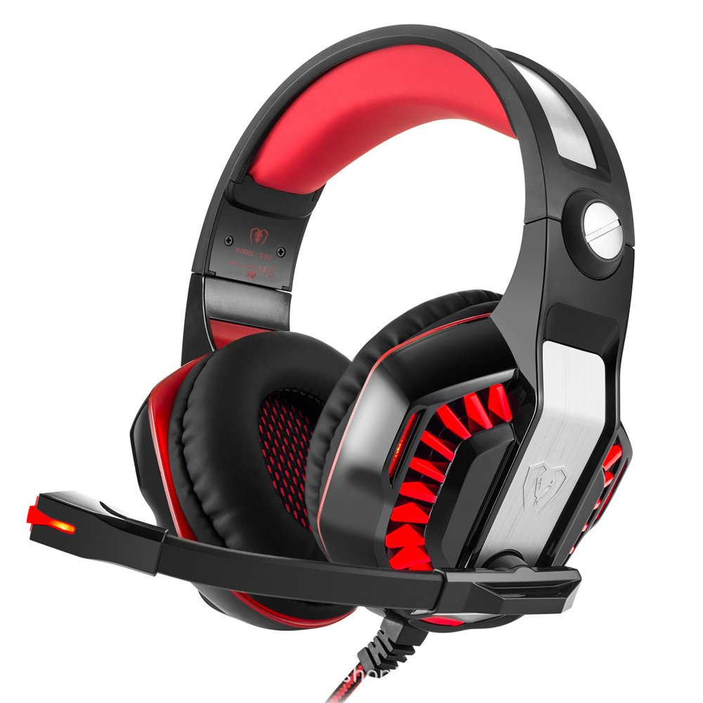 Cuffie da gioco STOGA GM-2, Cuffia da gioco PS4 da 3,5 mm Ispezione acustica over-the-ear, Luce a LED con microfono per PC Gamers (nero e rosso) 2210183-RB