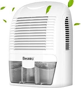 Besmira Portable Mini Dehumidifier 2200 Cubic Feet Electric Safe Dehumidifier for RV,Bathroom,home,Basement,Closet(Grey) …