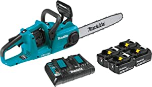 "Makita XCU03PT1 18V X2 (36V) LXT Lithium-Ion Brushless Cordless 14"" Chain Saw Kit with, 4 Batteries (5.0Ah)"