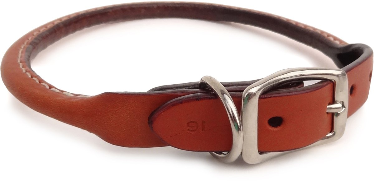 Auburn Leathercrafters Rolled Leather Dog Collar 3 8  X 12  Tan