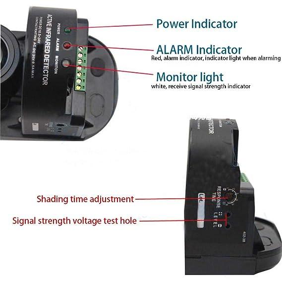 Biback - Detector de radiación por Infrarrojos (100 m, Interior de 300 m, 4 Luces de 4 Luces, 250 m, Infrarrojos Activos, Alarma infrarroja Activa): ...
