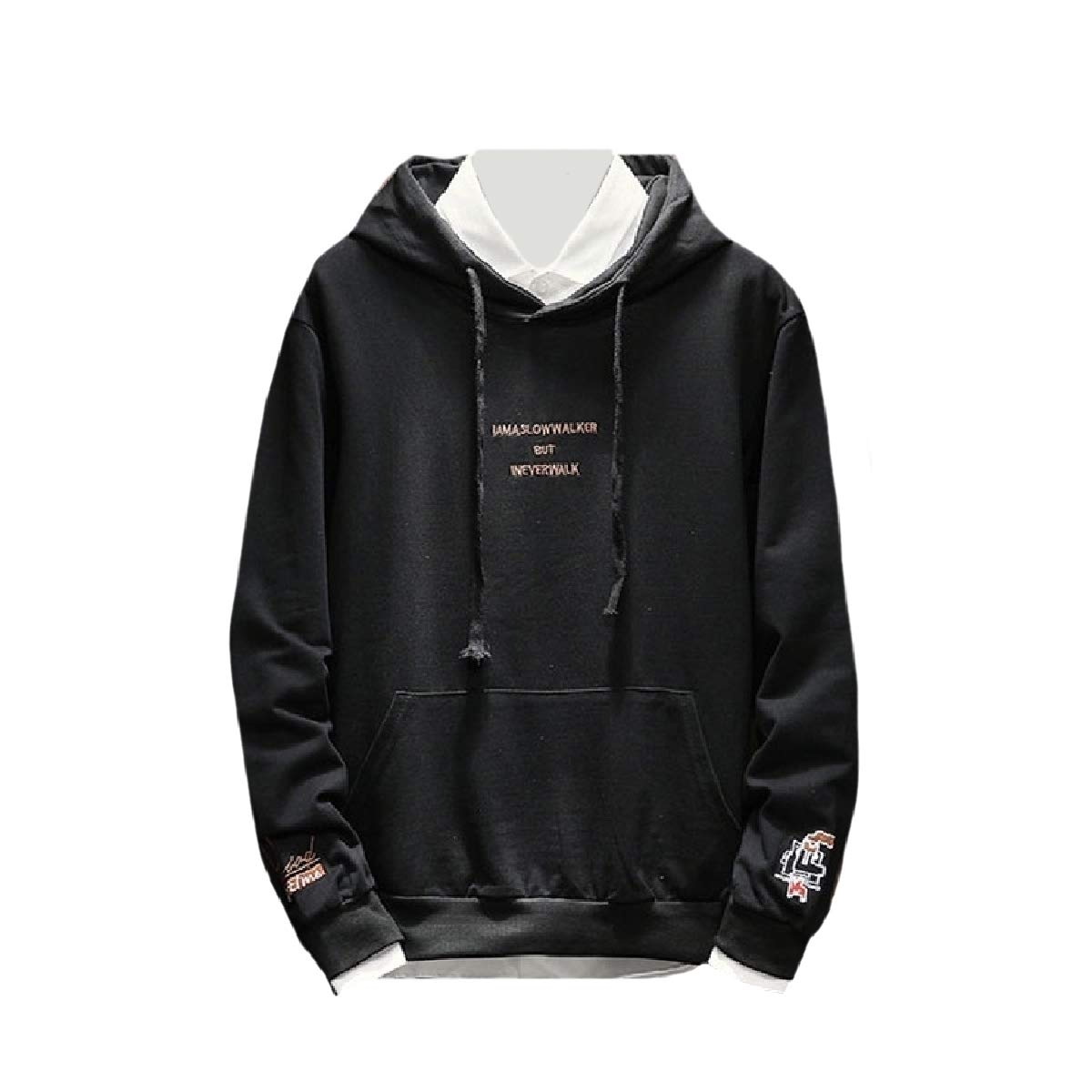 YUNY Mens Long-Sleeve Pullover Pockets Embroidery Hoodies Sweater Black S