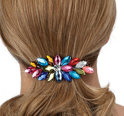 Colorful Hair Clip Barrette - Bejeweled Fastener Clasps Any Hair (Fasteners Clasps)