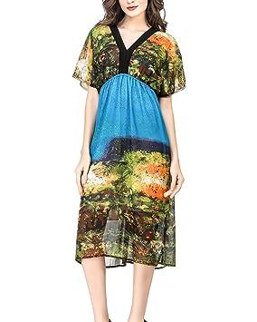 Mujer Midi Elegante V Cuello Suelto Largos Vestidos Para Fiesta Partido Playa Cielo Azul XL