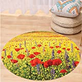 Niasjnfu Chen Custom carpetPoppy Decor A Colorful Field With Poppies Yellow Flowers And Lavendar Farmland Hills Scenery Bedroom Living Room Dorm Decor