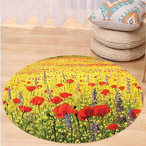 Niasjnfu Chen Custom carpetPoppy Decor A Colorful Field With Poppies Yellow Flowers And Lavendar Farmland Hills Scenery Bedroom Living Room Dorm Decor by Niasjnfu Chen