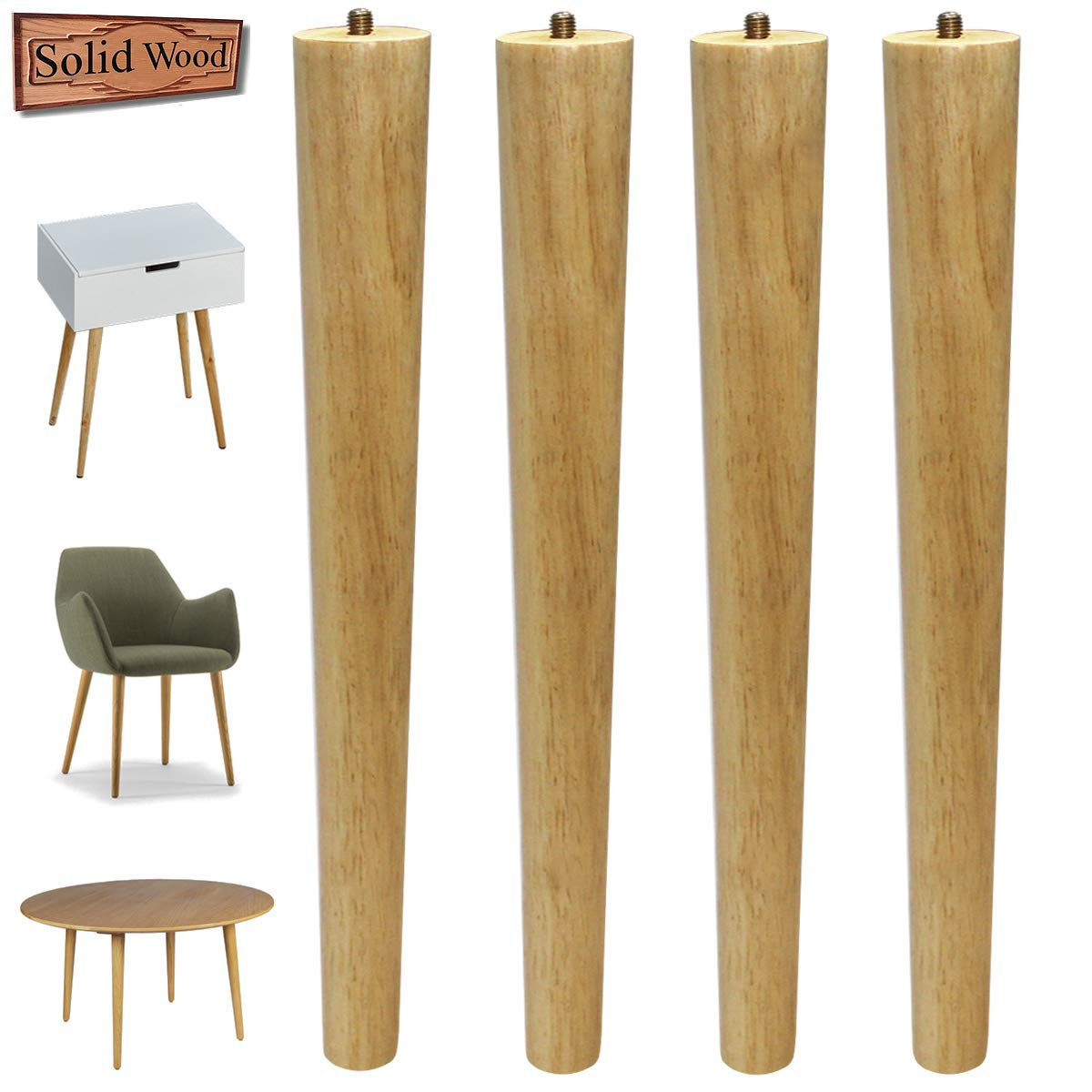 Table Legs 16 inch Wood Furniture Legs for Coffee Table End Table Mid-Century Modern DIY Furniture Tapered Natural Threaded 5/16'' Hanger Bolts Pack of 4