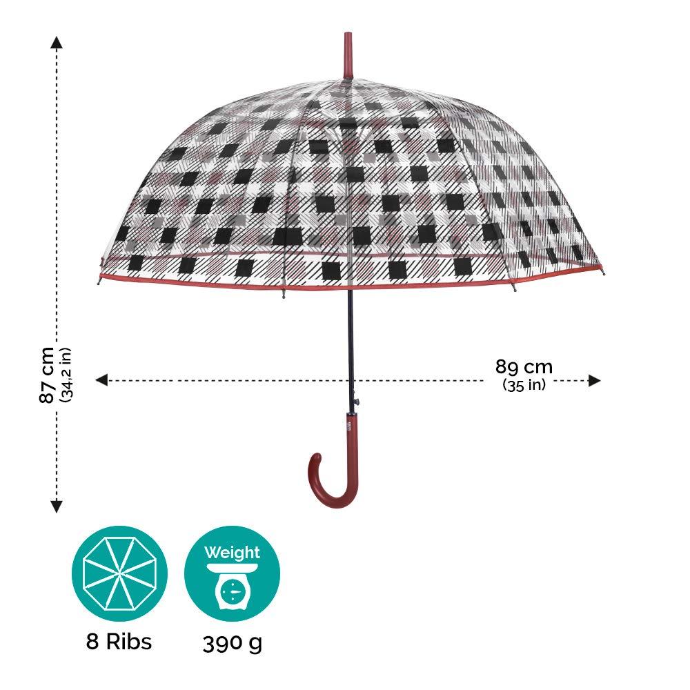 Perletti Time Ouverture Automatique et en PEG Parapluie Canne Transparent /à Carreaux Femme Fille Coupe Vent en Fibre de Verre Diam 89 cm Grand Parapluie Cloche de Voyage avec Bordure Marron
