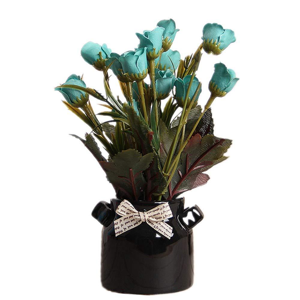 W.Jin Botella Negra Decoración De Flores Falsas En Maceta Pequeña ...