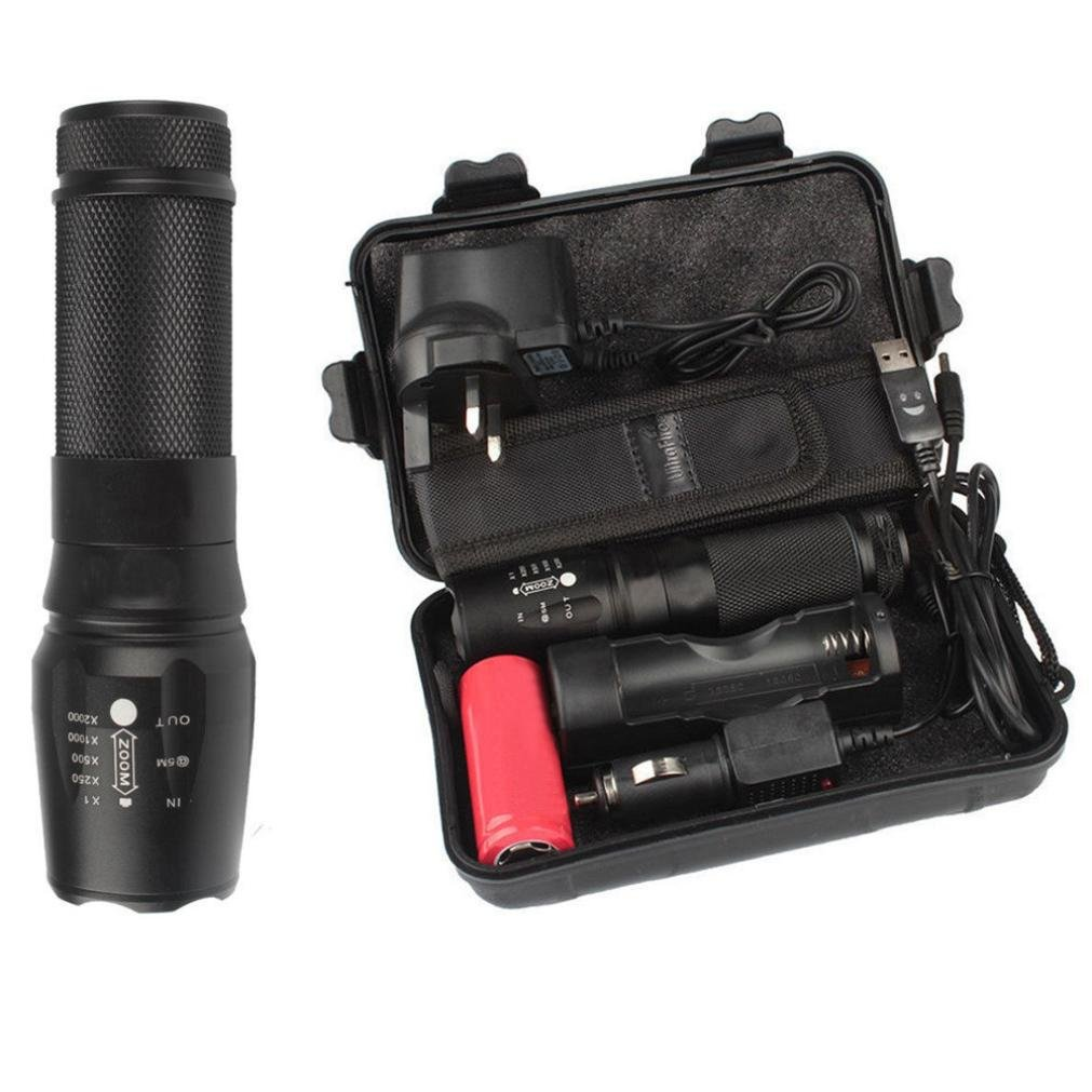 LED Tactical Handheld Flashlight, 6000LM LED Photography Video Scuba Diving Bicycle Flashlight for Camping, Fishing, Hiking, Night Flying, Sailing Etc (Black)