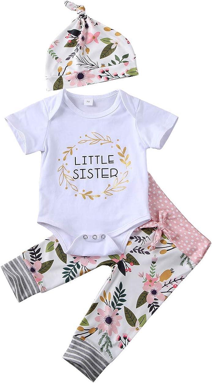 Newborn Kid Baby Girl Little Sister Tops Romper+Floral Pants Leggings Hat Outfit