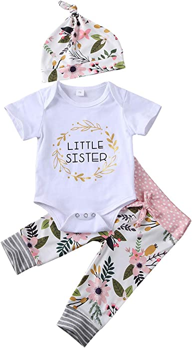 Newborn Infant Baby Girls Cute Sister Outfit Sister Letter Outfits Set Romper+Print Pant Set+Headband+Hat Outfits Clothes