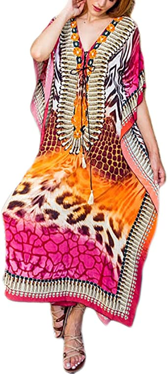 Bsubseach Women's Print Turkish Kaftan Beachwear Bikini Cover Up Maxi Dress