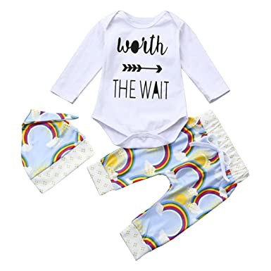 339ebfaab392 Voberry Fashion Toddler Infant Baby Girls Rainbow Clothes Set Romper ...