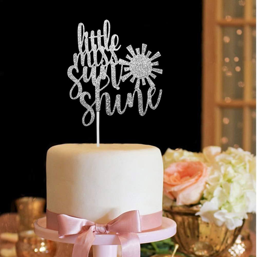 Little Miss Sunshine Cake Topper Girls Birthday Baby Shower Party Decorations Silver Glitter
