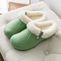 Waterproof Slippers Men and Women Wool-Like Lined Clogs Winter Garden Shoes Warm Cosy Non Slip Indoor Outdoor Home Slippers,Green,36/37