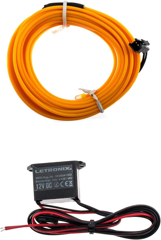 Orange - 3 Meter 4,66/€//M LETRONIX EL Wire Lichtleiste Ambientebeleuchtung Auto 12V Orange 3 Meter