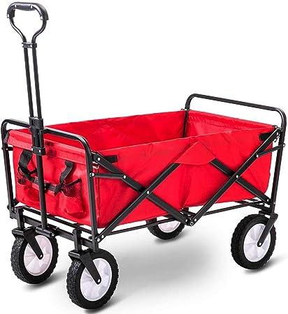 Plegable tire a lo largo del carro jardín remolque mano carro carretilla de transporte en ruedas carro de servicio pesado (rojo): Amazon.es: Hogar