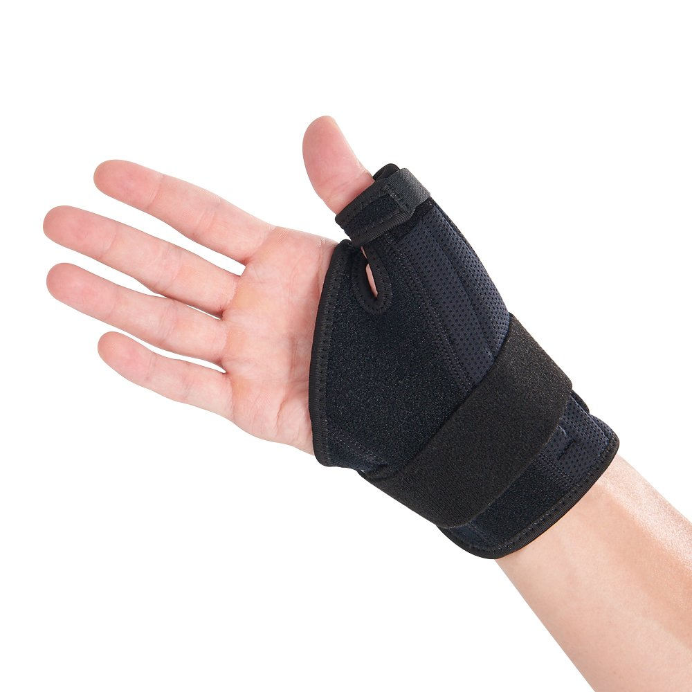 Bracoo Thumb Spica Stabilizer, Wrist Brace for Arthritis, de Quervain's, Sprained Pain Relief - Right & Left Hand, Black, TP32, 1 Count