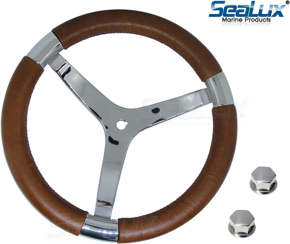 3-Spoke Sport Boat Yacht Steering Wheel SeaLux Marine Premier Genuine Leather Comfort Grip 316 Stainless Steel 14 dia Color: Cherrywood Brown