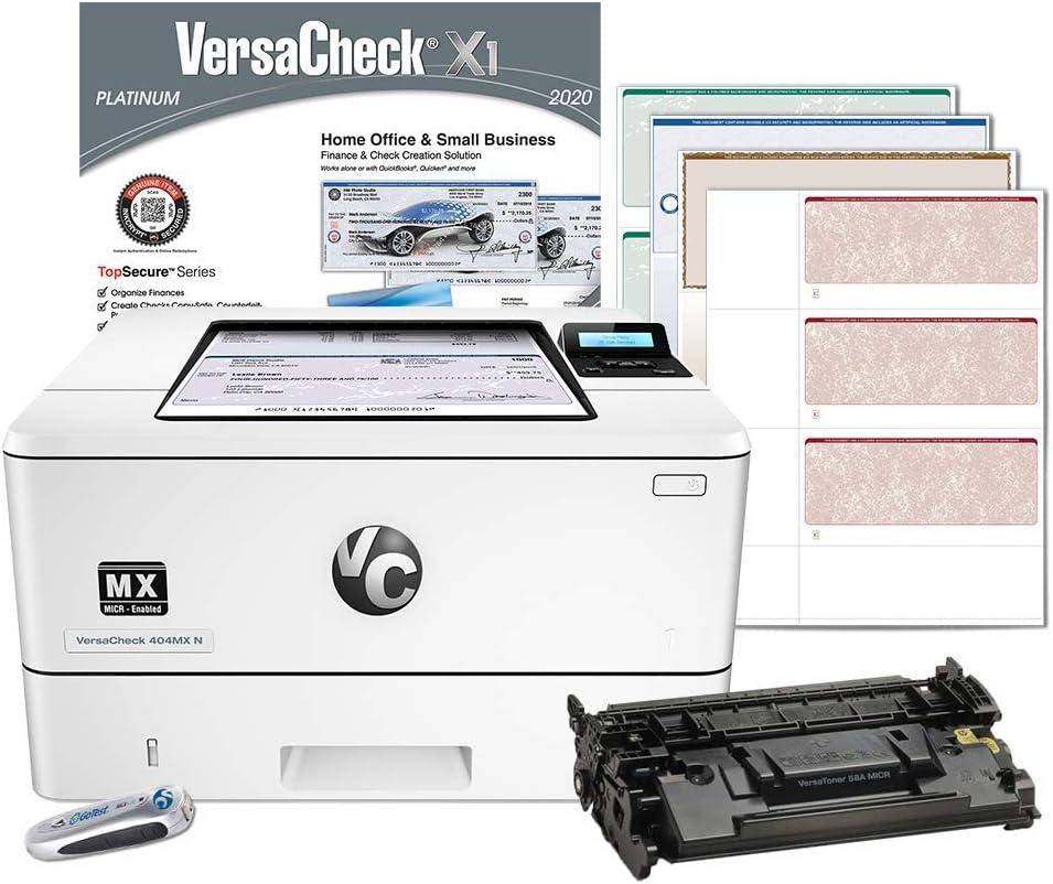 VersaCheck HP Laserjet M404 MX MICR Check Printer and VersaCheck Platinum Check Printing Software Bundle, White (M404MX) (M404n MX)