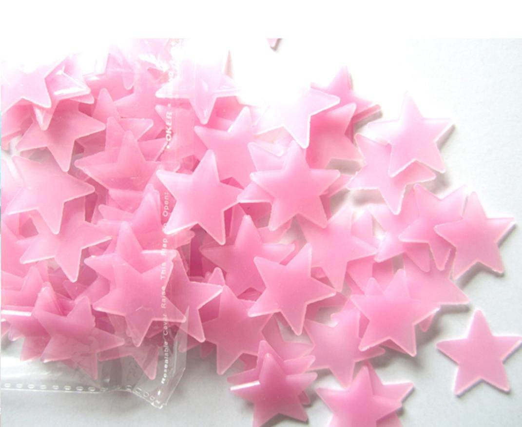 Fluorescent Glow Stars Wall Stickers,100PC,Kids Bedroom Decor,Tuscom (Pink / 3x3CM)