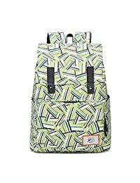 """Artone Stripe Weave Water Resistant Big Capacity Flap Over Backpack Padded School Daypack With Laptop Compartment Fit 14"""" Notebook Green"""