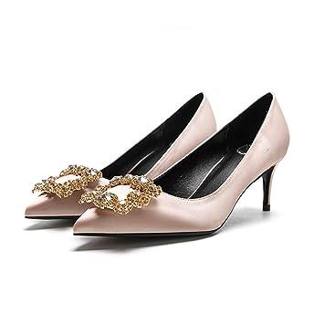 a16300b19a7 YIXINYI Court Shoe F338-4 Single Shoes Woman Silk + PU Rhinestone Fine Heel  Pointed