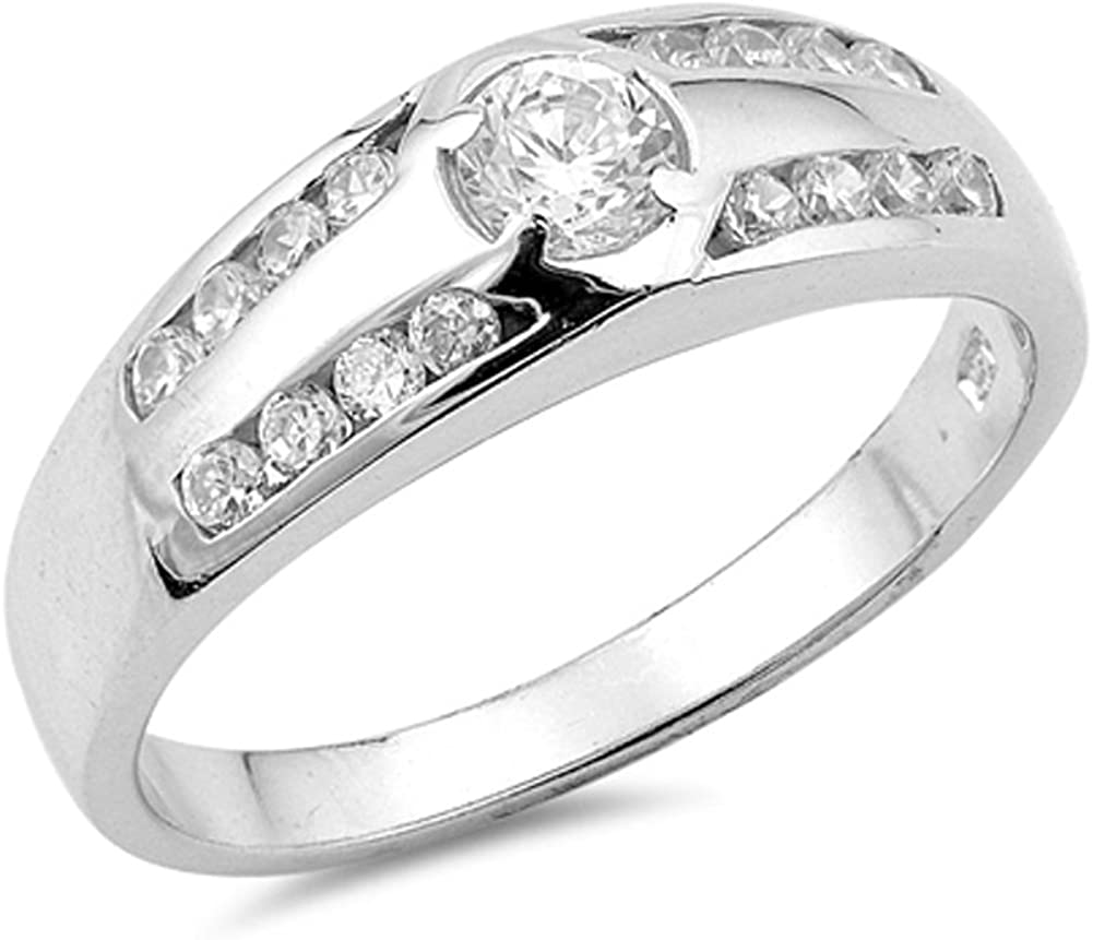 Women/'s Wedding Ring Clear CZ Beautiful .925 Sterling Silver Band Sizes 5-9 NEW