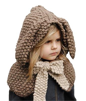 42c22d4a81ce koobea Bonnet Chaud Chapeau Cagoule Lapin Bebe Enfant Echarpe Hiver Automne  en Laine Tricote (Cafe