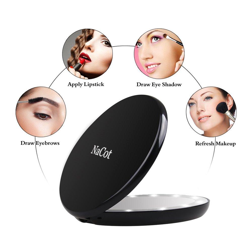 ed9e3e704 NaCot Espejo de Bolsillo Compacto Iluminado LED para Maquillaje Aumento de  1X//5X Gran Espejo ...