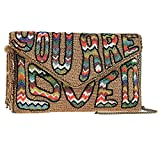 Mary Frances You are Loved Hippie Boho Beaded Clutch Bag New