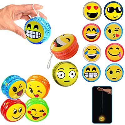 2 X Emoji YoYo Emoticon Light Up Party Favor Classic Toy Children Games Kid Gift: Office Products