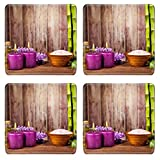 Liili Square Coasters Non-Slip Natural Rubber Desk Pads IMAGE ID: 18367443 Spa still life with free space for text