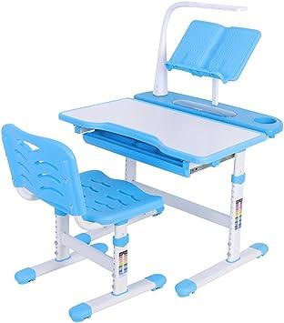 Storage Drawer for Boys Girls LED Light Height Adjustable Children School Study Desk with Tilted Bookstand UTPO Kid Desk and Chair Set