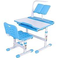 Cocoarm Kinderschreibtisch Kindersitzgruppe mit Stuhl LED Lampe Leseständer, Schreibtisch neig höhenverstellbar für Kinder 3-12 Jahre Girls Boys