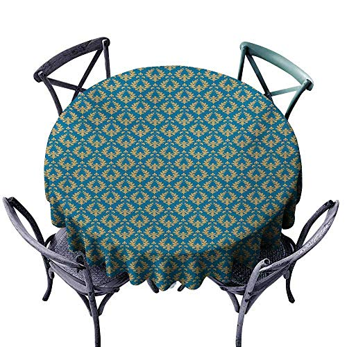 (VIVIDX Spillproof Tablecloth,Damask,Repetitive Floral Motifs with Curlicues Royal Revival Old Fashion Earth Tones,for Events Party Restaurant Dining Table Cover,63 INCH,Blue Apricot)
