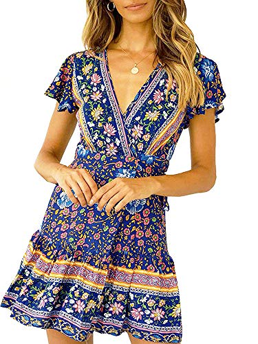 - Bbalizko Womens Boho Floral Print Dress V Neck Wrap Ruffle Short Sleeve Sexy Dresses Blue
