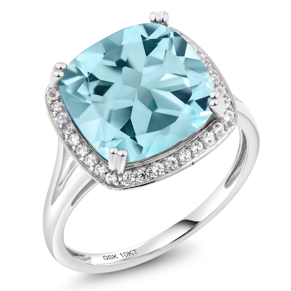 8.54 Ct Cushion Sky Blue Topaz White Diamond 10K White Gold Ring (Available in size 5, 6, 7, 8, 9)