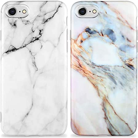 KARELIFE 2 cover in marmo per iPhone SE 2020 / iPhone 8 / iPhone 7, in silicone opaco, morbido e resistente ai graffi, in TPU, sottile, colore viola, ...