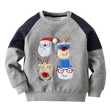 Sweatshirt Baby Shirt Weihnachten Hirsch Fleecepullover langarm  Babykleidung für Jungen Mädchen 7ec3f6646f