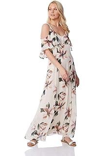 0ffe9b7ec97 Roman Originals Femme Robe Epaules Dénudées Doublé Motif à Fleurs - Maxi  Longue Ete Vacances Tropical