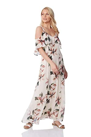 3f1a3d418418 Roman Originals Women Cold Shoulder Chiffon Floral Maxi Dress - Ladies  Loose Boho Bohemian Oriental Summer Floaty Short Sleeve Evening Occasion  Wedding ...
