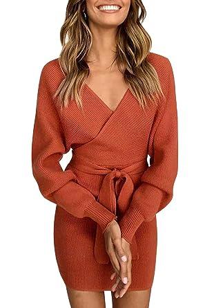 4691b5bac83fe4 Yidarton Pullover Damen PulloverKleid Sexy Elegant Rückenfrei V-Ausschnitt  Langarm Pullover Kleid Minikleid mit GüRtel  Amazon.de  Bekleidung