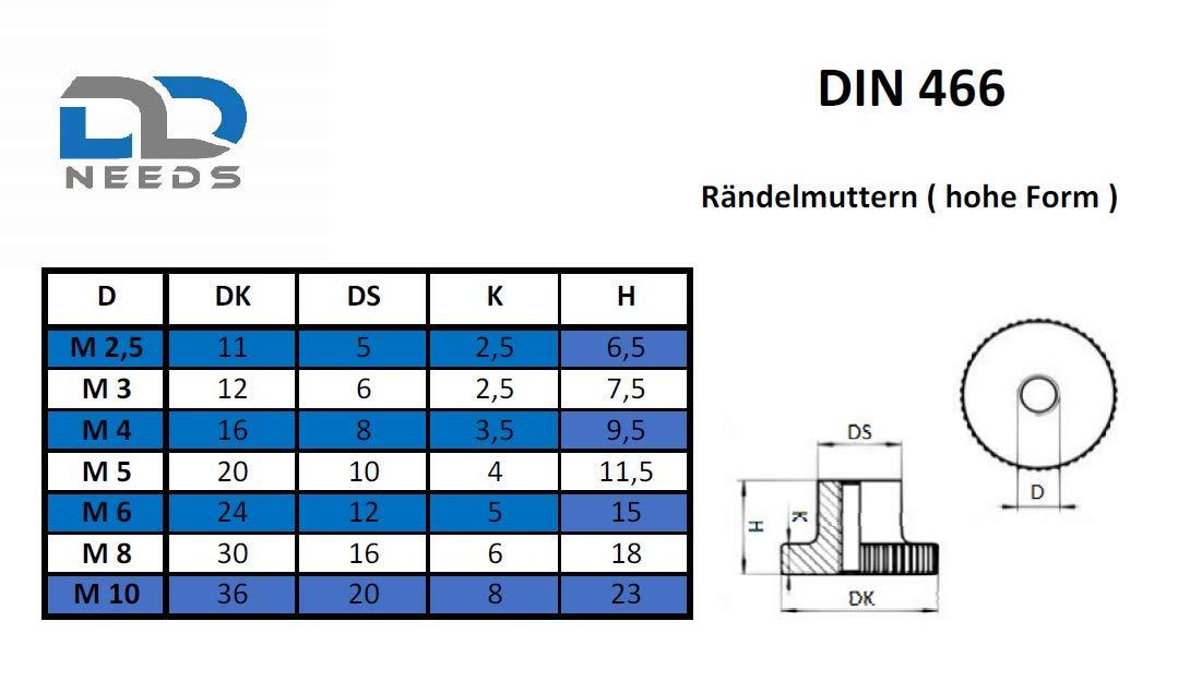 Acciaio inox A1 VA con bordo zigrinato. 4 dadi zigrinati a norma DIN 466