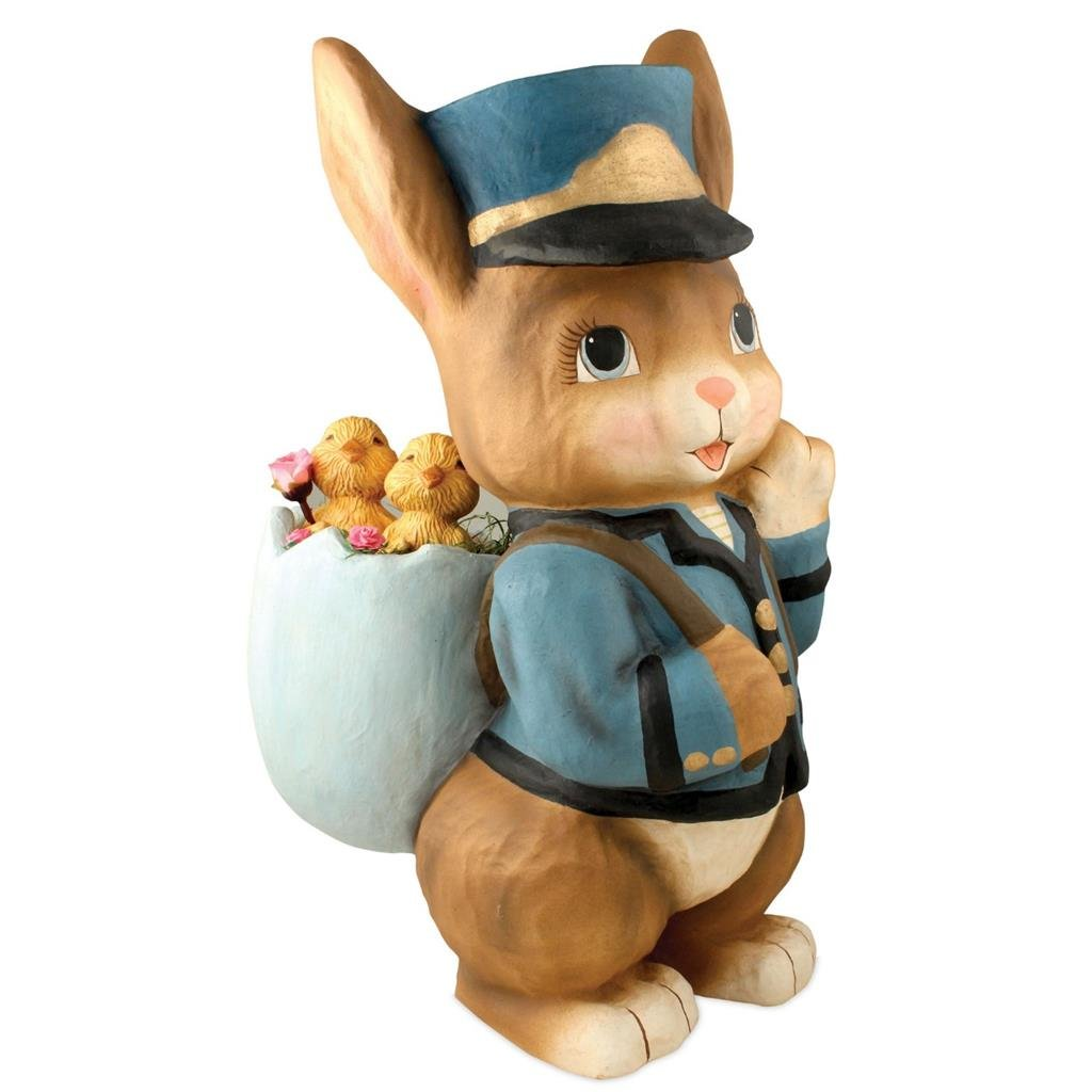 Bethany Lowe Large Easter Special Delivery Bunny Postman Figure, 18.5'' x 8''