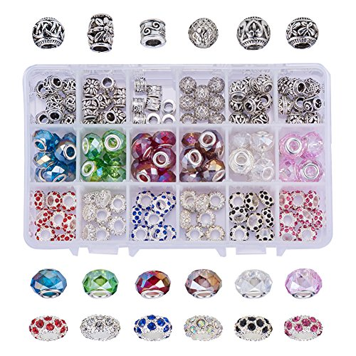 NBEADS 144PCS Mixed Style and Colors European Beads, Alloy Rhinestone Large Hole Glass European Charms Beads fit Bracelet Jewelry Making (Crystal European Style Beads)